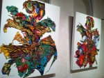 Installation composed of scraps of textiles to form human-like forms.